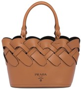 Prada large woven motif leather tote bag