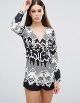AX Paris Monochrome Printed Playsuit