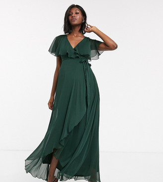 Asos DESIGN Maternity maxi dress with cape back and dipped hem