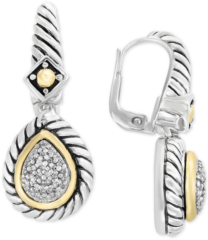 Effy Balissima by Diamond Drop Earrings (1/5 ct. t.w.) in Sterling Silver & 18k Gold