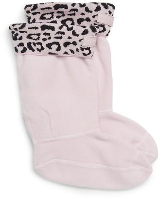 Hunter Snow Leopard Print Cuff Boot Sock