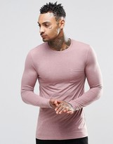 Asos Linen Mix Muscle Long Sleeve T-Shirt With Pocket In Pink