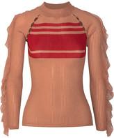 Self-Portrait Ruffled Ribbed-knit Sweater - Beige