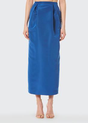 Carolina Herrera Pleated Midi Silk Pencil Skirt