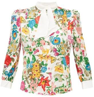 Edeltrud Hofmann - Dia Floral Print Silk Blouse - Womens - White Multi
