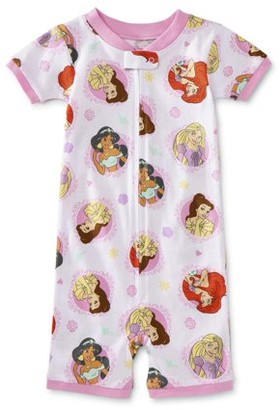 Disney Princess Toddler Girl Snug Fit Cotton Short Sleeve 1-Piece Romper Pajamas