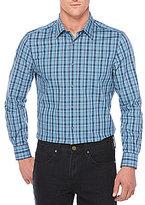 Perry Ellis Non-Iron Plaid Stretch Woven Long-Sleeve Shirt