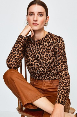 Karen Millen Animal Print Crew Jumper