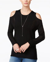 Bar III Perforated Cold-Shoulder Sweater, Only at Macy's