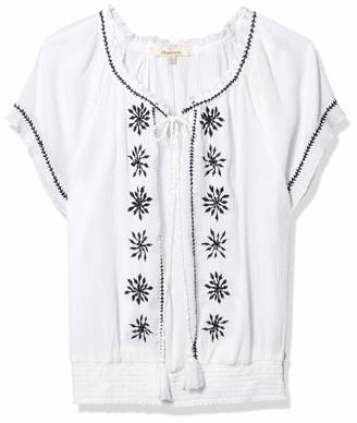 Margaritaville Women's Embroidered Flutter Sleeve Top