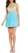 Midnight Doll High Neck Beaded Bodice Fit-and-Flare Party Dress