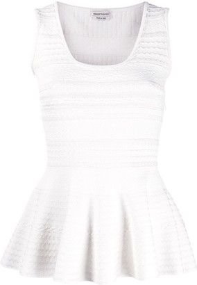 Alexander McQueen Textured Sleeveless Pleated Top