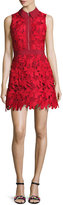 Alice + Olivia Ellis Guipure Lace Sleeveless Zip-Front Dress, Red