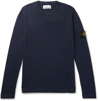 Stone Island Slim-Fit Logo-Appliqued Garment-Dyed Cotton-Blend Sweater