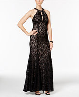 Night Way Nightway Petite Glitter Lace Halter Gown