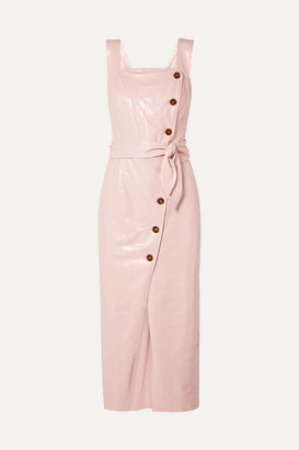 Nanushka Zora Croc-effect Vegan Leather Wrap-effect Midi Dress - Pastel pink