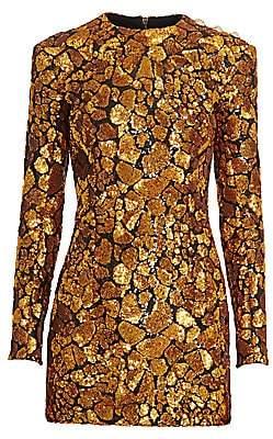 Balmain Women's Embellished Giraffe Print Mini Dress