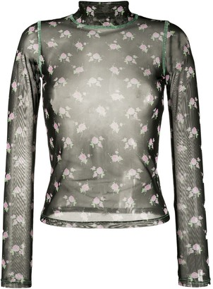 Sandy Liang sheer floral-print top