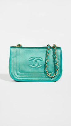 What Goes Around Comes Around Chanel Green Satin Triborder Full Flap Bag