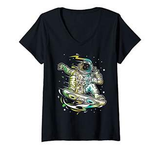 Womens Astro Surf Cool Space Astronaut V-Neck T-Shirt