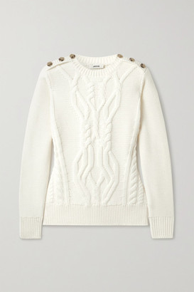 Jason Wu Button-embellished Cable-knit Merino Wool Sweater - Off-white