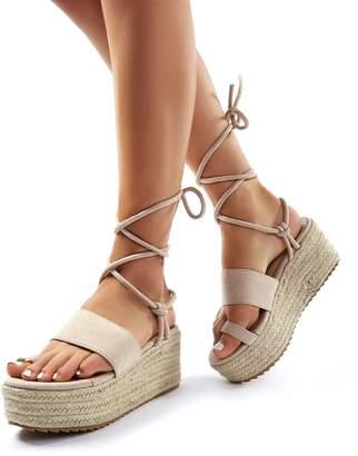 Public Desire Calypso Faux Suede Lace Up Espadrille Flatform Sandals