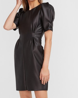 Express Puff Sleeve Vegan Leather Dress