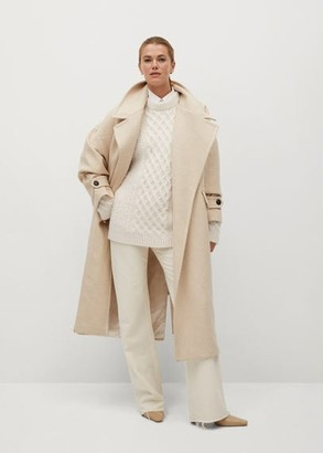 MANGO Contrasting knitted long sweater