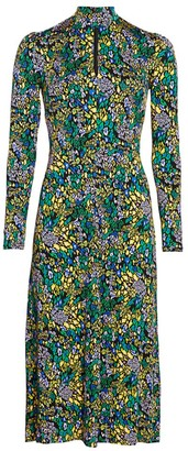 Tanya Taylor Andrea Print Long-Sleeve Midi Dress