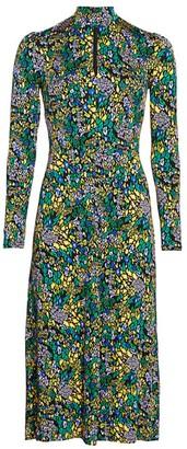 Tanya Taylor Andrea Print Long-Sleeve Midi Dress