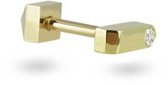 Minimalist 18k Yellow Gold Diamond Bar Stud