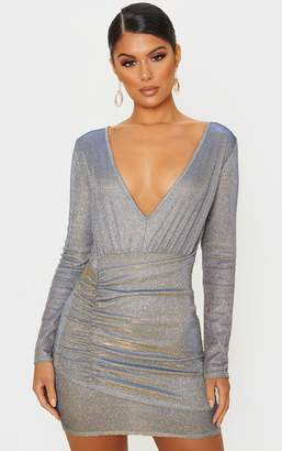 PrettyLittleThing Silver Iridescent Glitter Long Sleeve Ruched Panel Bodycon Dress