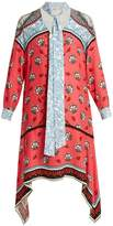 Mary Katrantzou Hearts Kings-print neck-tie silk dress