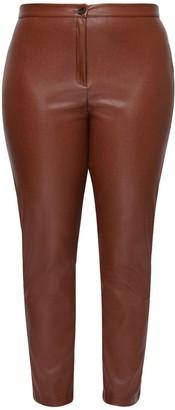 Marina Rinaldi High Waist Faux Leather Straight Pants