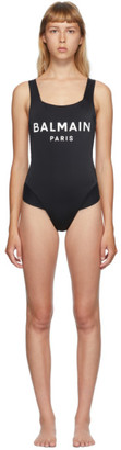 Balmain Black Cross Back One-Piece Swim Suit