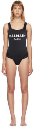 Balmain Black Cross Back One-Piece Swim Suit