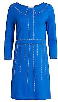 Joan Vass Women's Trompe L'Oeil Studded Three-Quarter Sleeve Dress