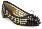 Christian Louboutin Mix Spiked Patent Leather & Mesh Flats