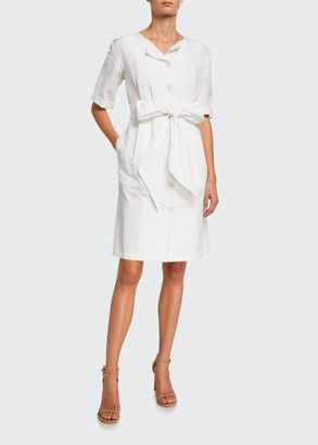 Brock Collection Quirnale Woven Button-Front Short-Sleeve Dress