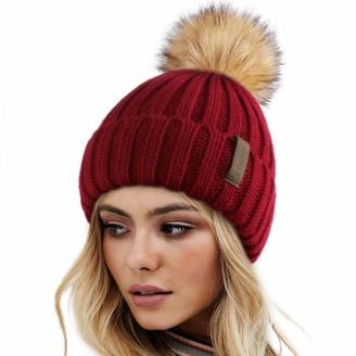 Furtalk Womens Faux Fur Pom Pom Beanie Hat Winter Knitted bobble Hat beanie for girls - Red -
