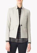 Veronica Beard Anaheim Upcollar Schoolboy Jacket Light Grey