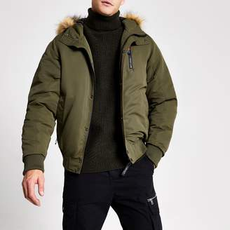 River Island Mens Khaki Prolific faux fur hooded padded jacket
