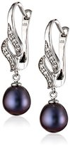 Bella Pearl Black Cubic Zirconia Pearl Earrings