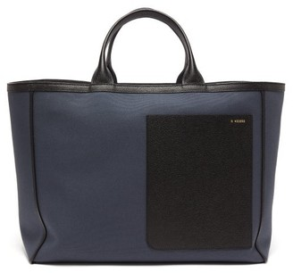 Valextra Shopping Canvas And Leather Tote Bag - Womens - Blue