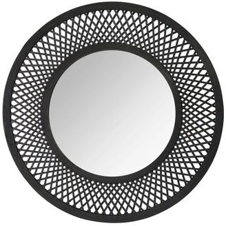 Stratton Home Black Andi Black Woven Rattan Mirror
