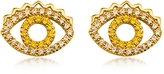 Kenzo Goldtone Mini Eye Earrings w/Crystals