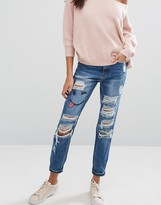 Missguided Riot Ripped High Rise Jeans With Emoji Print