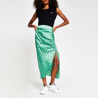 River Island Womens Green spot print satin ruched midi skirt