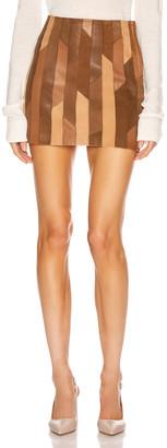 Frame Patchwork Mini Skirt in Saddle Multi | FWRD