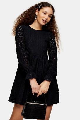 Topshop Womens Black Broderie Long Sleeve Baby Doll Mini Dress - Black